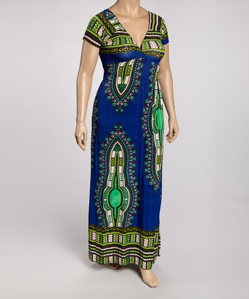 Navy & Turquoise Tribal Maxi Dress - Plus