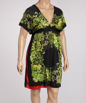Orange & Green Floral Color Block Tunic - Plus