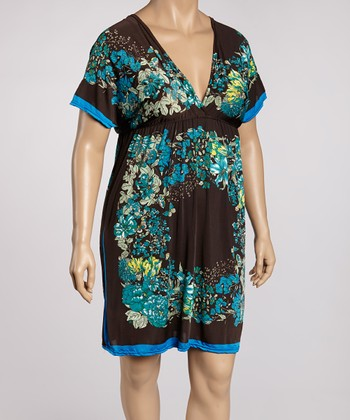 Brown & Green Floral Color Block Tunic - Plus