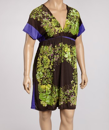 Purple & Green Floral Color Block Tunic - Plus