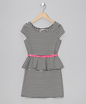 Black & Pink Stripe Peplum Dress