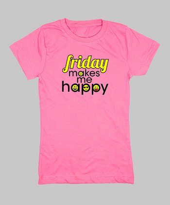 Raspberry 'Friday Makes Me Happy' Tee - Toddler & Kids