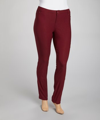 Deep Mulberry Millennium Straight-Leg Pants - Plus