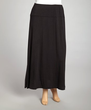 Black Banded Maxi Skirt - Plus