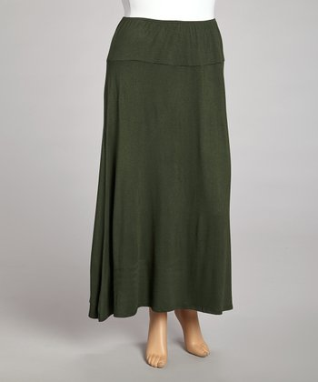 Olive Banded Maxi Skirt - Plus
