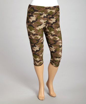 Olive Camo Capri Leggings - Plus