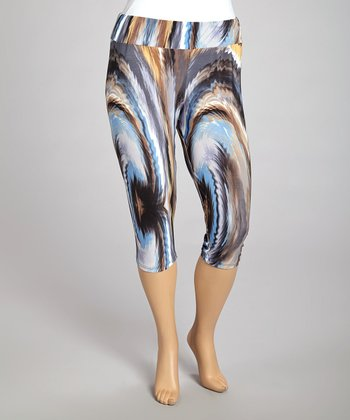 Brown & Aqua Brushstroke Capri Leggings - Plus