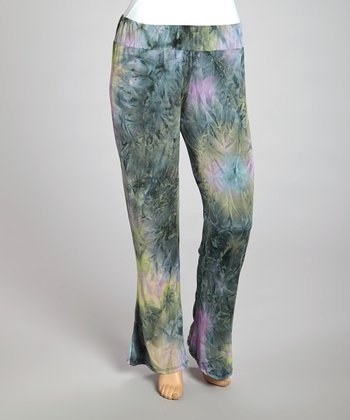 Green Watercolor Lounge Pants - Plus