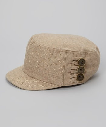 Natural Zigzag Wool-Blend Cadet Cap
