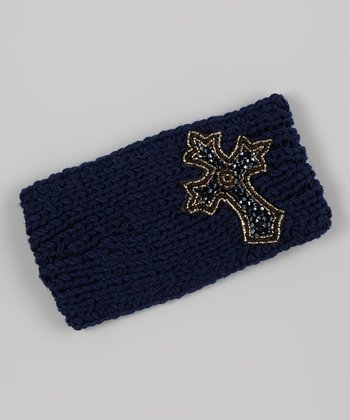 Navy Beaded Cross Head Wrap