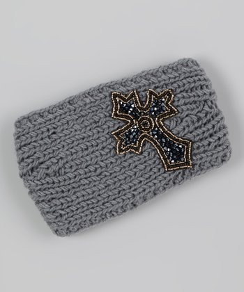 Gray Beaded Cross Head Wrap