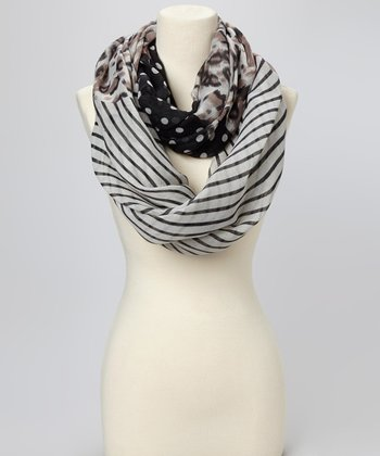 Brown Leopard & Dot Infinity Scarf