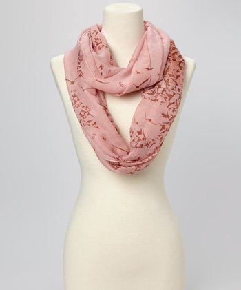 Peach Bird Infinity Scarf