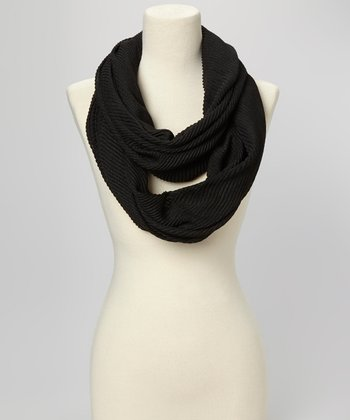 Black Pleated Infinity Scarf