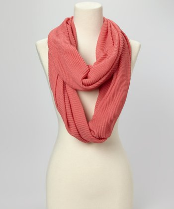 Pink Pleated Infinity Scarf