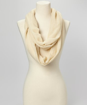 Ivory Pleated Infinity Scarf