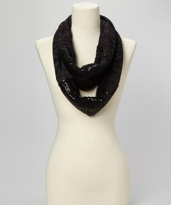 Black Sequin Infinity Scarf