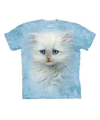 Light Blue Fluffy White Kitten Tee - Toddler & Kids
