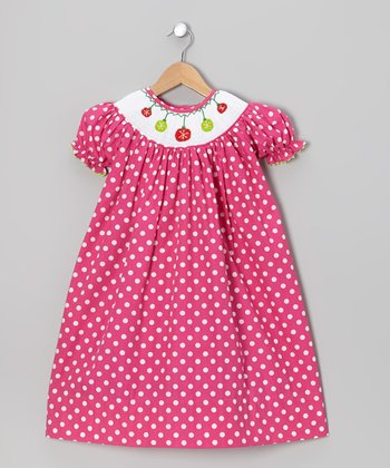 Hot Pink Polka Dot Xmas Bishop Dress - Infant, Toddler & Girls