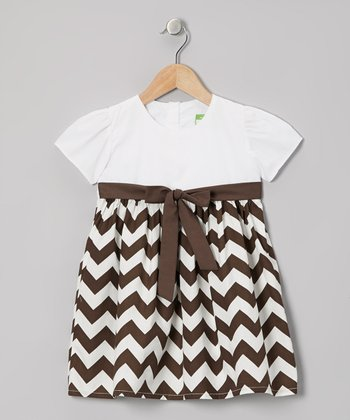 Brown & White Zigzag Dress - Infant, Toddler & Girls