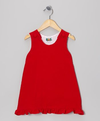 Red Corduroy Ruffle Dress - Infant, Toddler & Girls