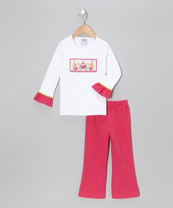 Pink & White Princess Tee & Corduroy Pants - Infant, Toddler & Girls