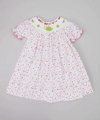 White & Pink Polka Dot Tea Party Dress - Infant & Toddler