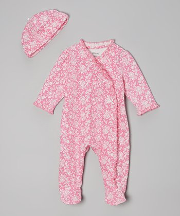Pink Flower Footie