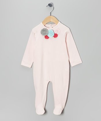 Baby Pink Flower Cluster Footie - Infant