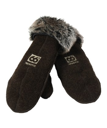 Dark Espresso Kaldi Wool-Blend Artic Mittens - Women