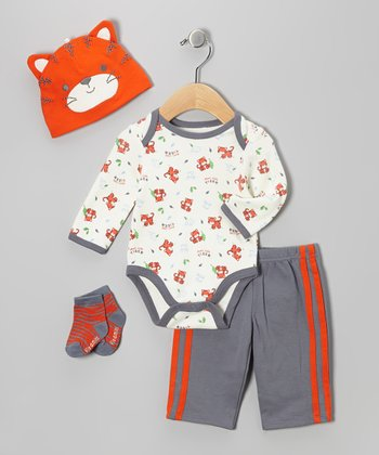 Orange Tiger Bodysuit Set