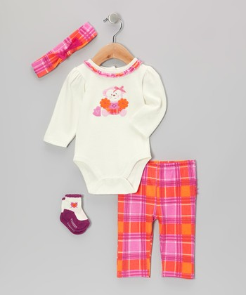 Pink Go Team! Monkey Bodysuit Set