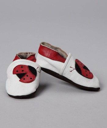 White & Red Ladybug Booties