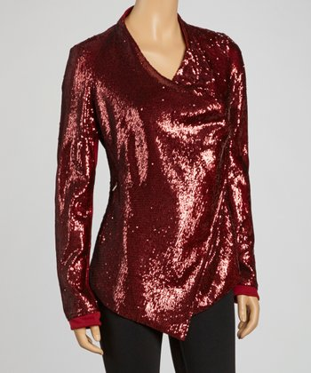 Burgundy Sequin Jacket