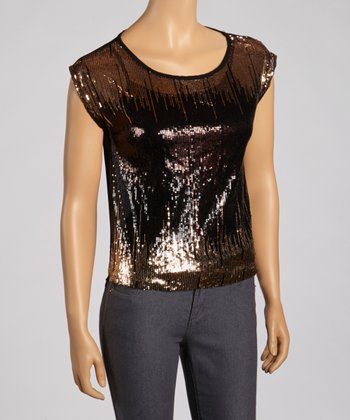 Gold Sequin Cap-Sleeve Top