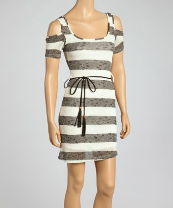 Black & White Stripe Cutout Dress