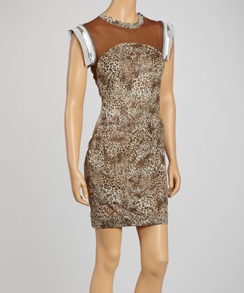 Taupe Leopard Sleeveless Dress