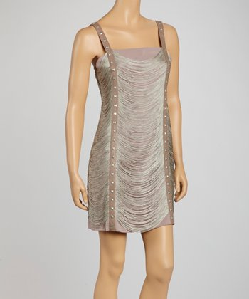 Taupe Studded Fringe Sleeveless Dress