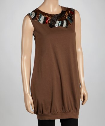 Mocha Sequin Sleeveless Dress