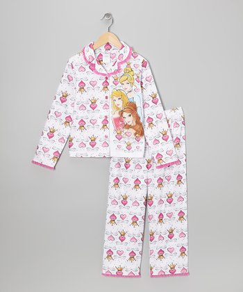 White Princess Hearts Button-Up Pajama Set - Girls