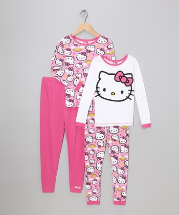 Pink Hello Kitty Double Pajama Set - Girls