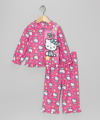 Pink Hello Kitty Ruffle Button-Up Pajama Set - Toddler