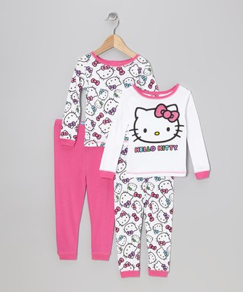 Pink & White Hello Kitty Double Pajama Set - Toddler