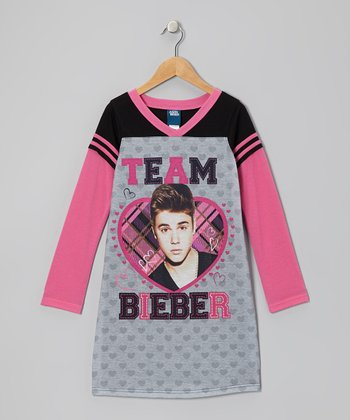Gray & Pink Justin Beiber Nightgown -  Girls