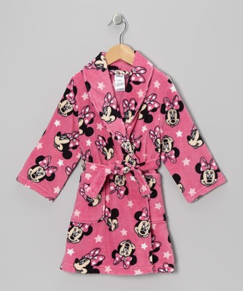 Pink Minnie Plush Robe - Girls
