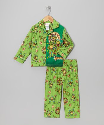 Green TMNT Button-Up Pajama Set - Toddler