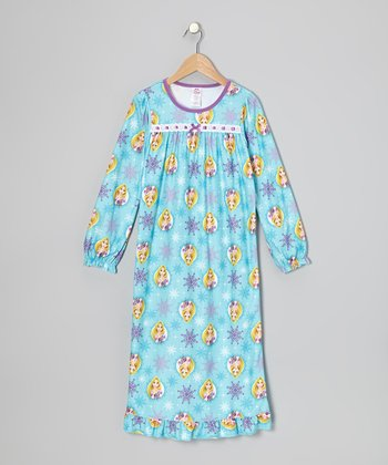 Blue Snowflake Rapunzel Nightgown - Girls
