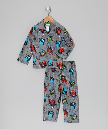 Gray Sesame Street Button-Up Pajama Set - Infant & Toddler