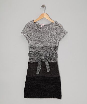 Black Color Block Sweater Dress - Girls
