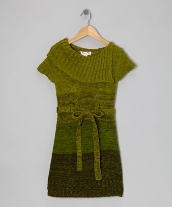 Green Color Block Sweater Dress - Girls